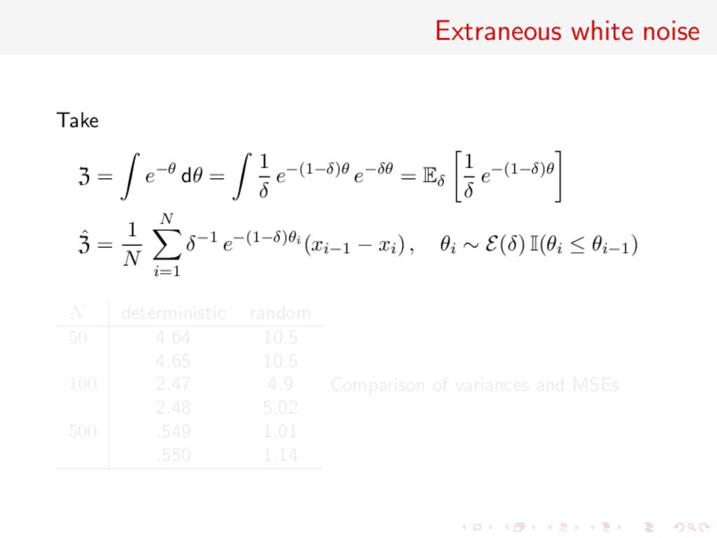 Extraneous white noise Take Z = e−θ dθ = 1 δ e−...