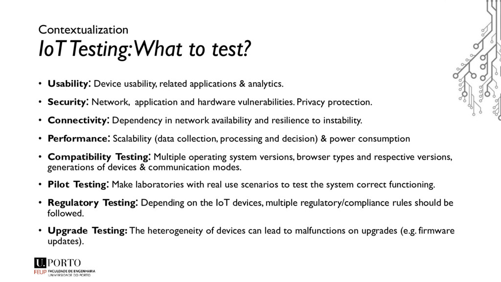 Contextualization IoT Testing: What to test? • ...