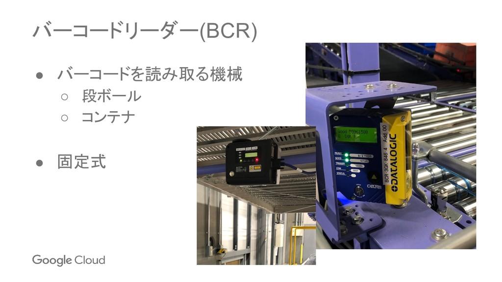 バーコードリーダー(BCR) ● バーコードを読み取る機械 ○ 段ボール ○ コンテナ ● 固...