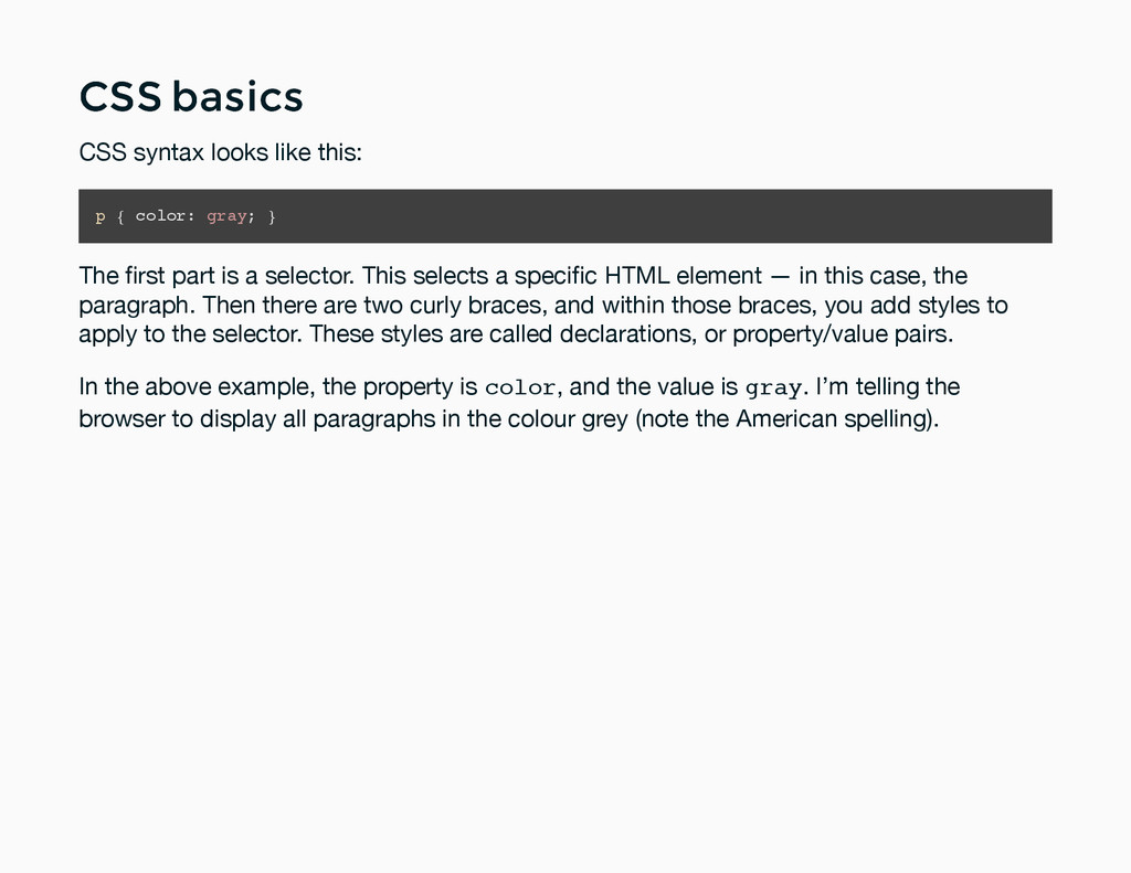 CSS basics CSS basics CSS syntax looks like thi...