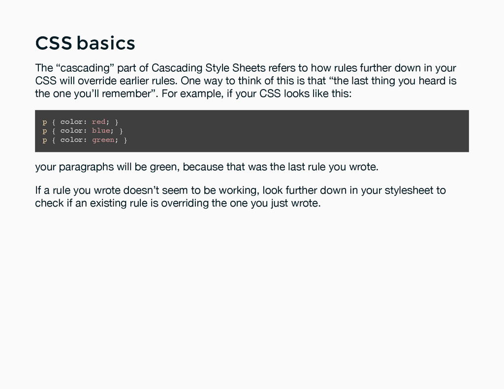 "CSS basics CSS basics The ""cascading"" part of C..."