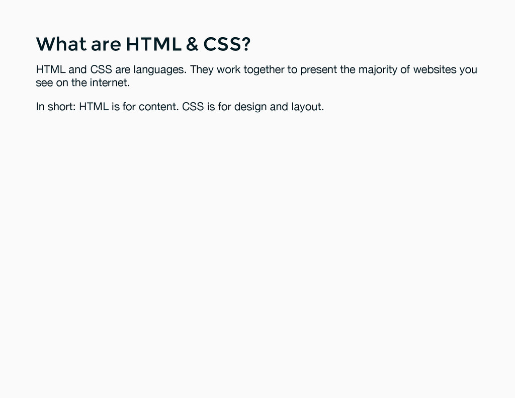 What are HTML & CSS? What are HTML & CSS? HTML ...