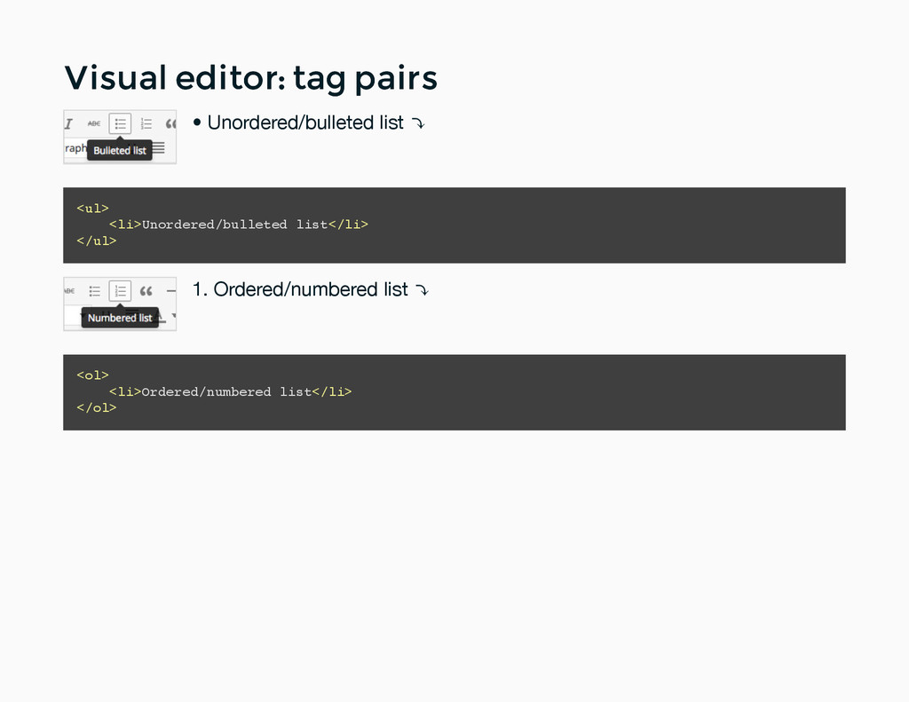 Visual editor: tag pairs Visual editor: tag pai...