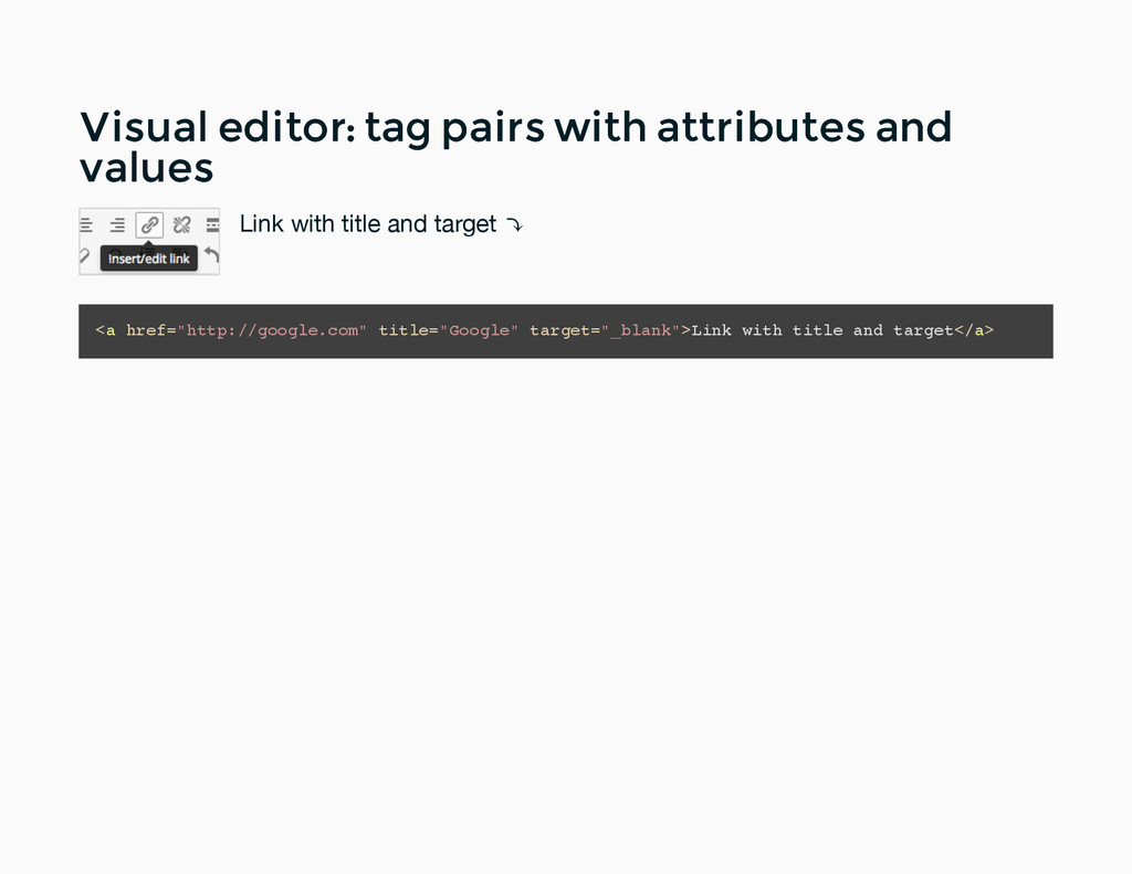Visual editor: tag pairs with attributes and Vi...