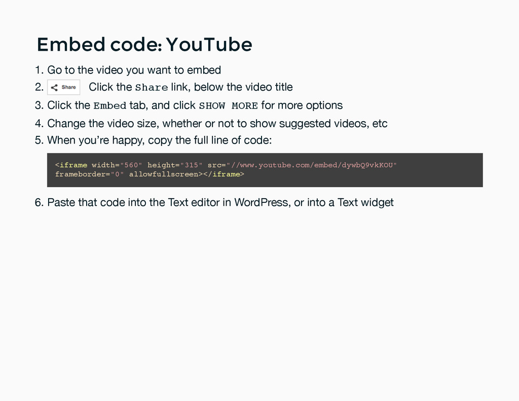 Embed code: YouTube Embed code: YouTube Go to t...