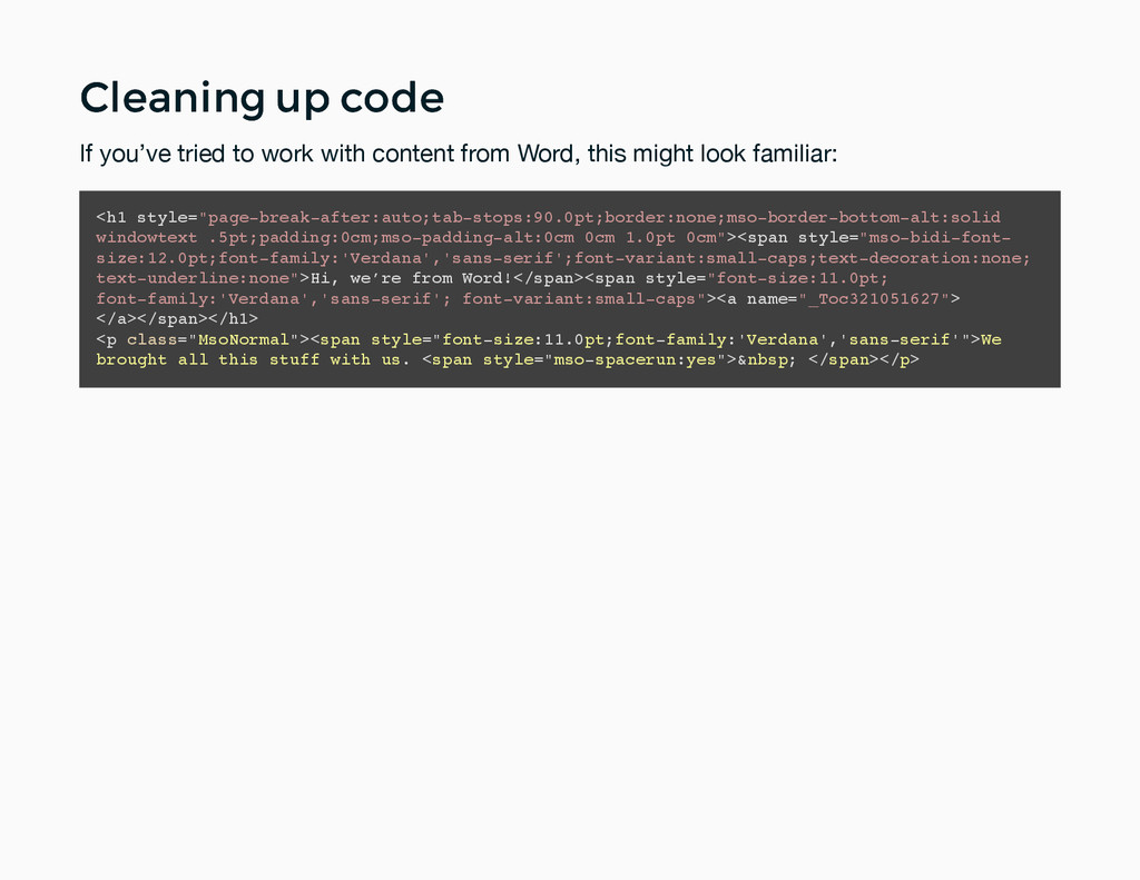 Cleaning up code Cleaning up code If you've tri...