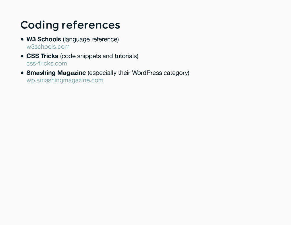 Coding references Coding references W3 Schools ...