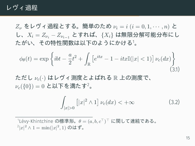 レヴィ過程 Zν をレヴィ過程とする。簡単のため νi = i (i = 0, 1, · · ...