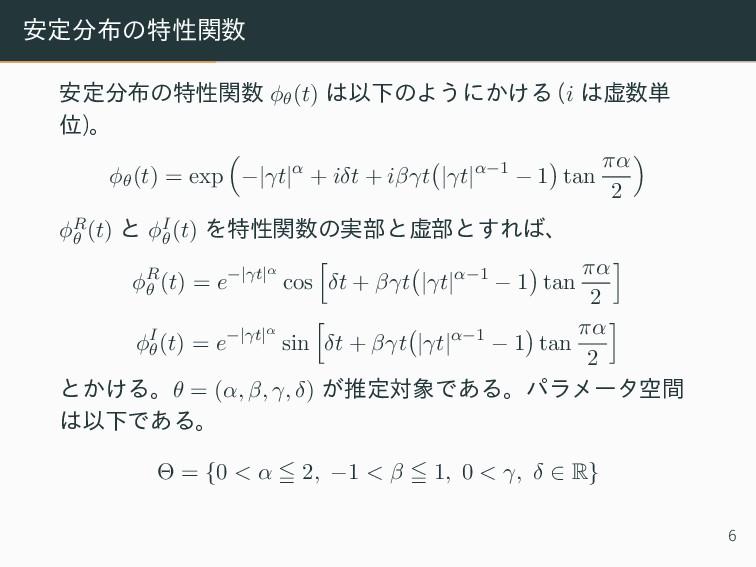 安定分布の特性関数 安定分布の特性関数 ϕθ(t) は以下のようにかける (i は虚数単 位)...