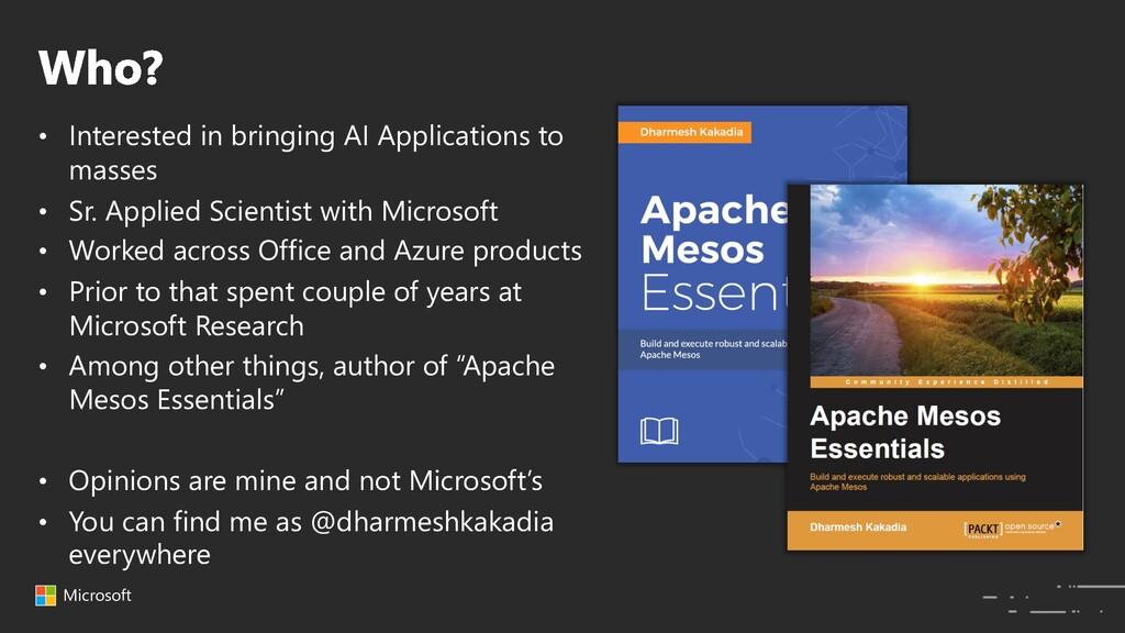 Microsoft • Interested in bringing AI Applicati...