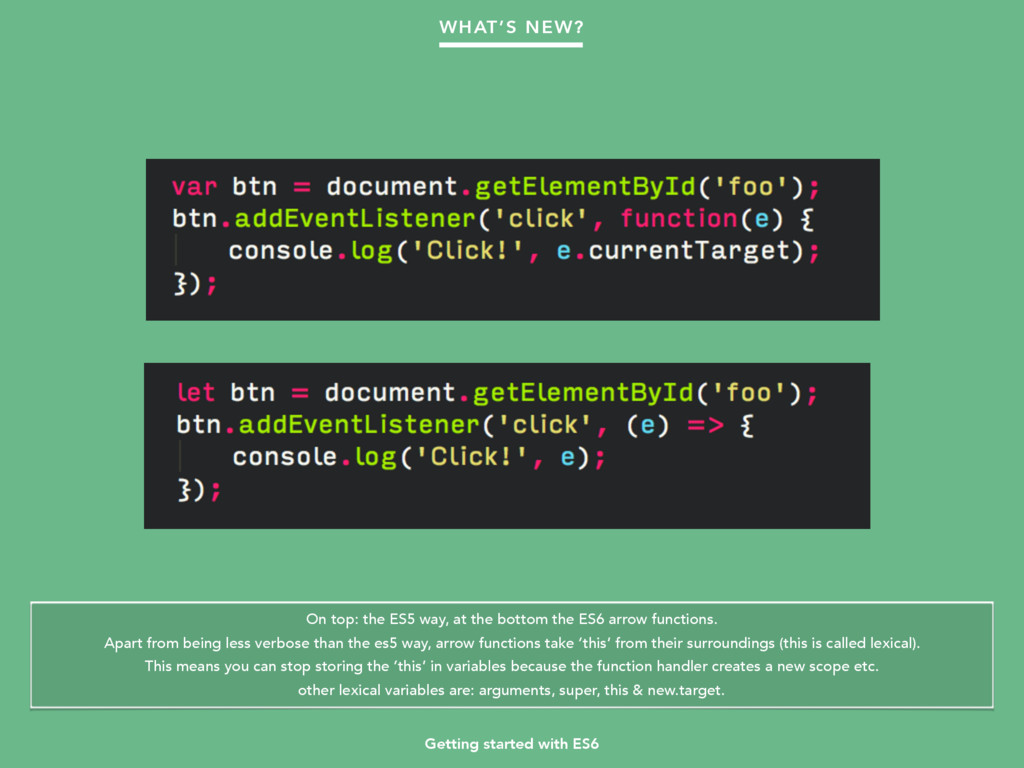 Getting started with ES6 WHAT'S NEW? On top: th...