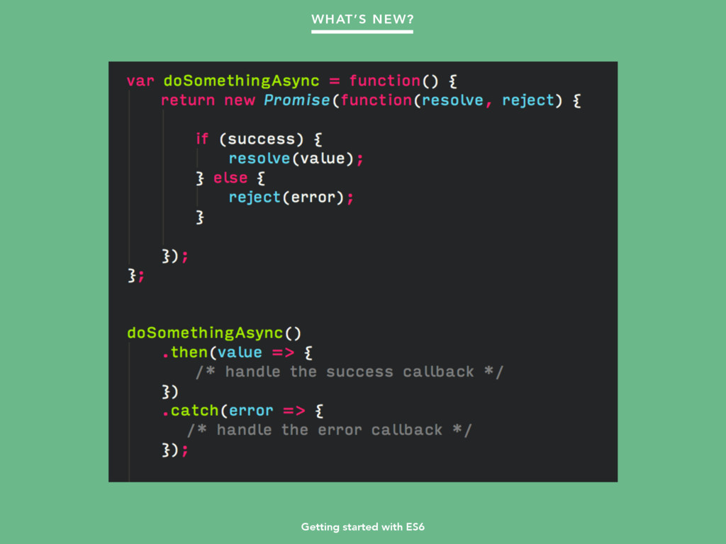 Getting started with ES6 WHAT'S NEW?