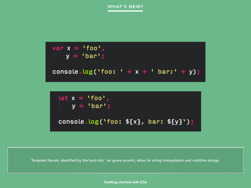 Getting started with ES6 WHAT'S NEW? Template l...