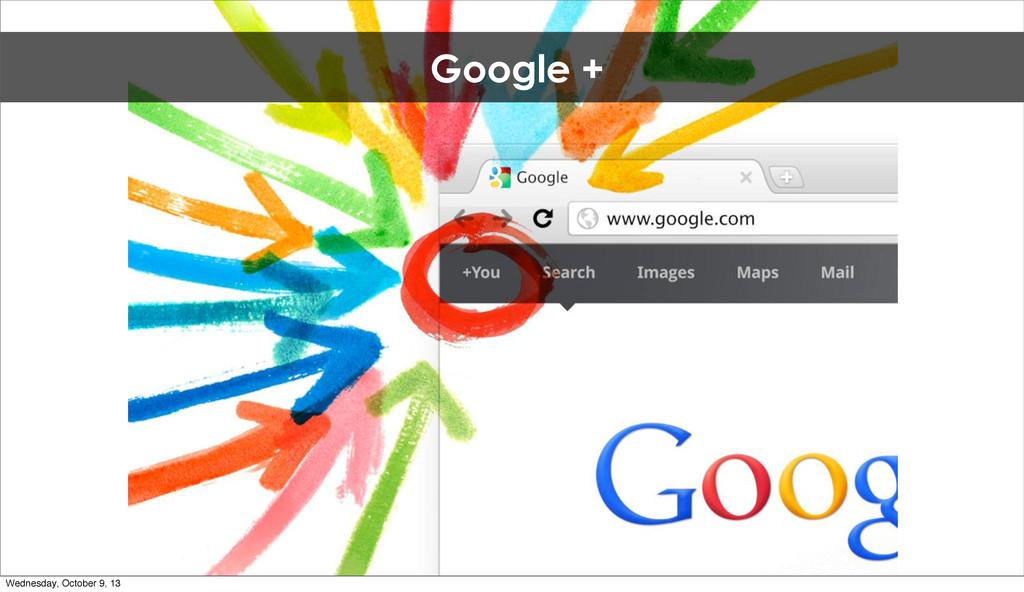 Google + Wednesday, October 9, 13