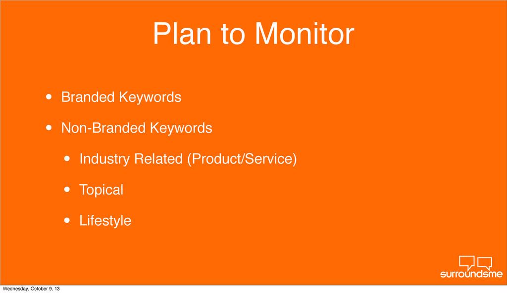 Plan to Monitor • Branded Keywords • Non-Brande...