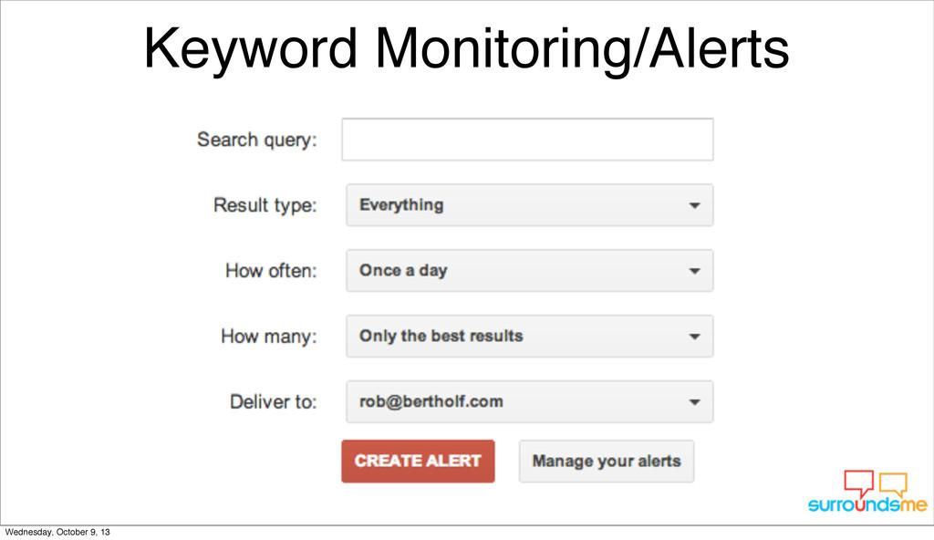 Keyword Monitoring/Alerts Wednesday, October 9,...