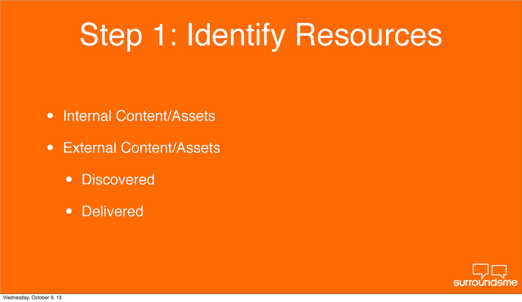 Step 1: Identify Resources • Internal Content/A...