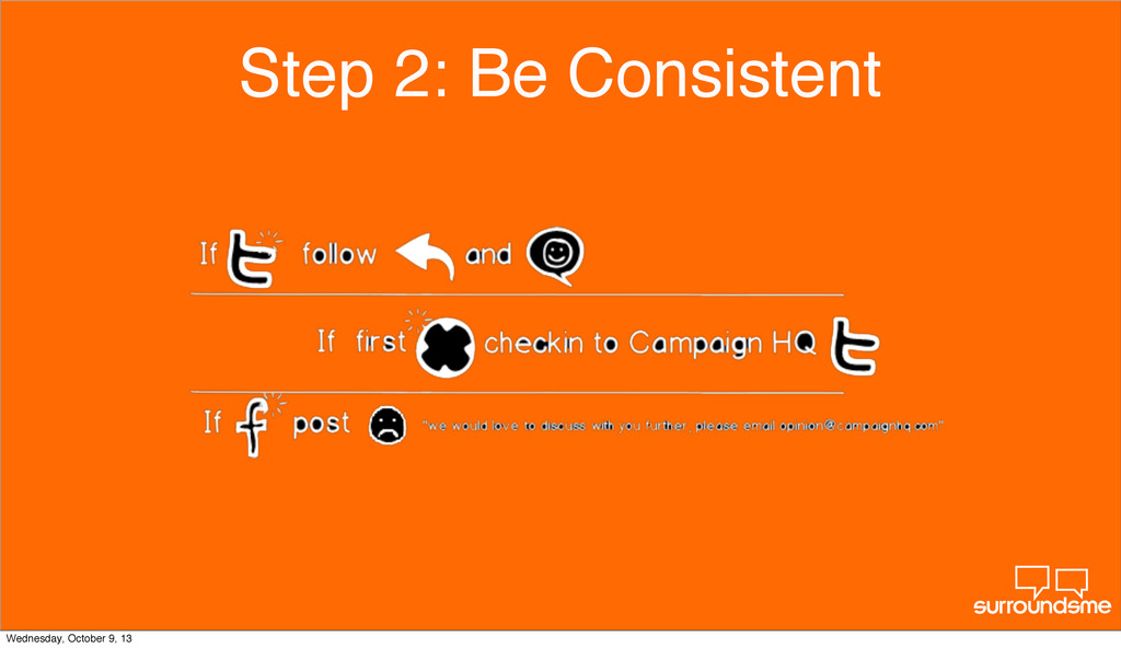 Step 2: Be Consistent Wednesday, October 9, 13