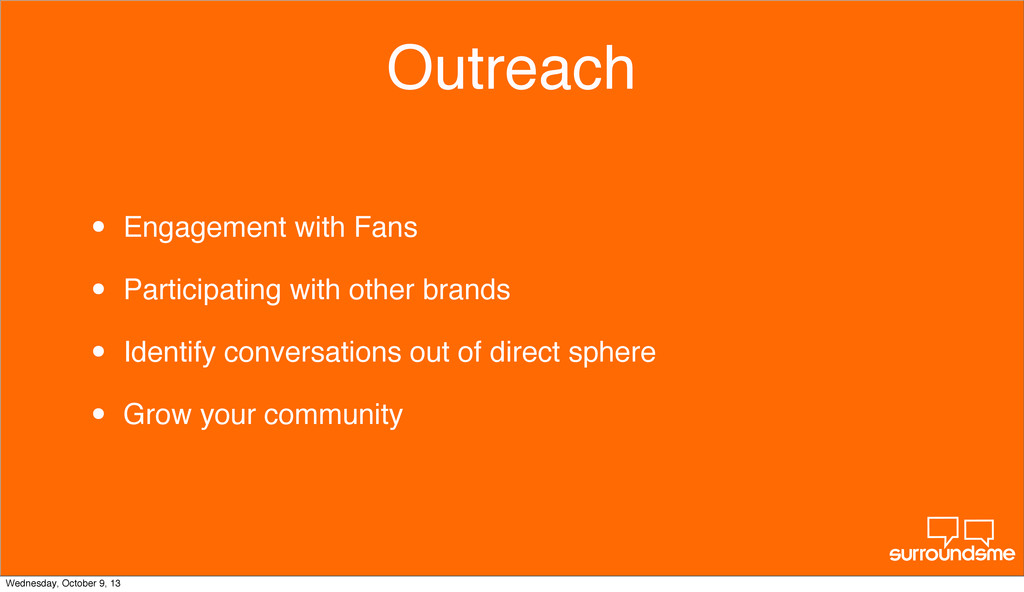 Outreach • Engagement with Fans • Participating...