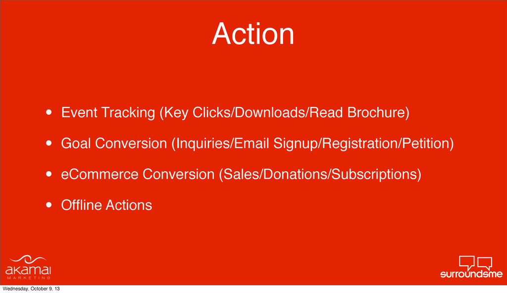Action • Event Tracking (Key Clicks/Downloads/R...