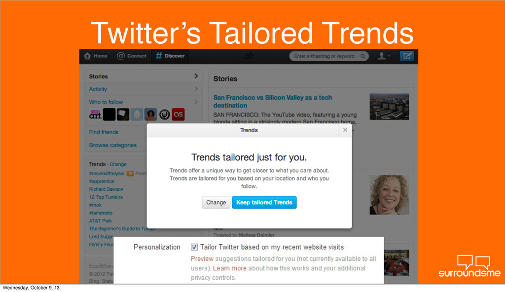Twitter's Tailored Trends Wednesday, October 9,...