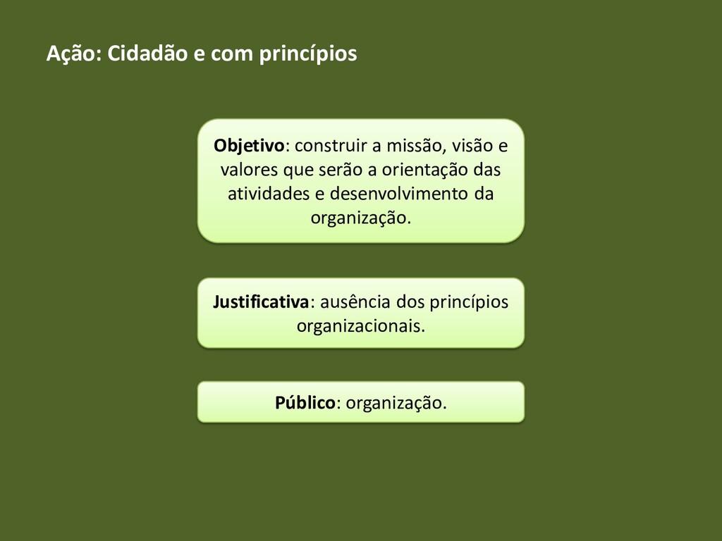 Ação: Cidadão e com princípios Objetivo: constr...