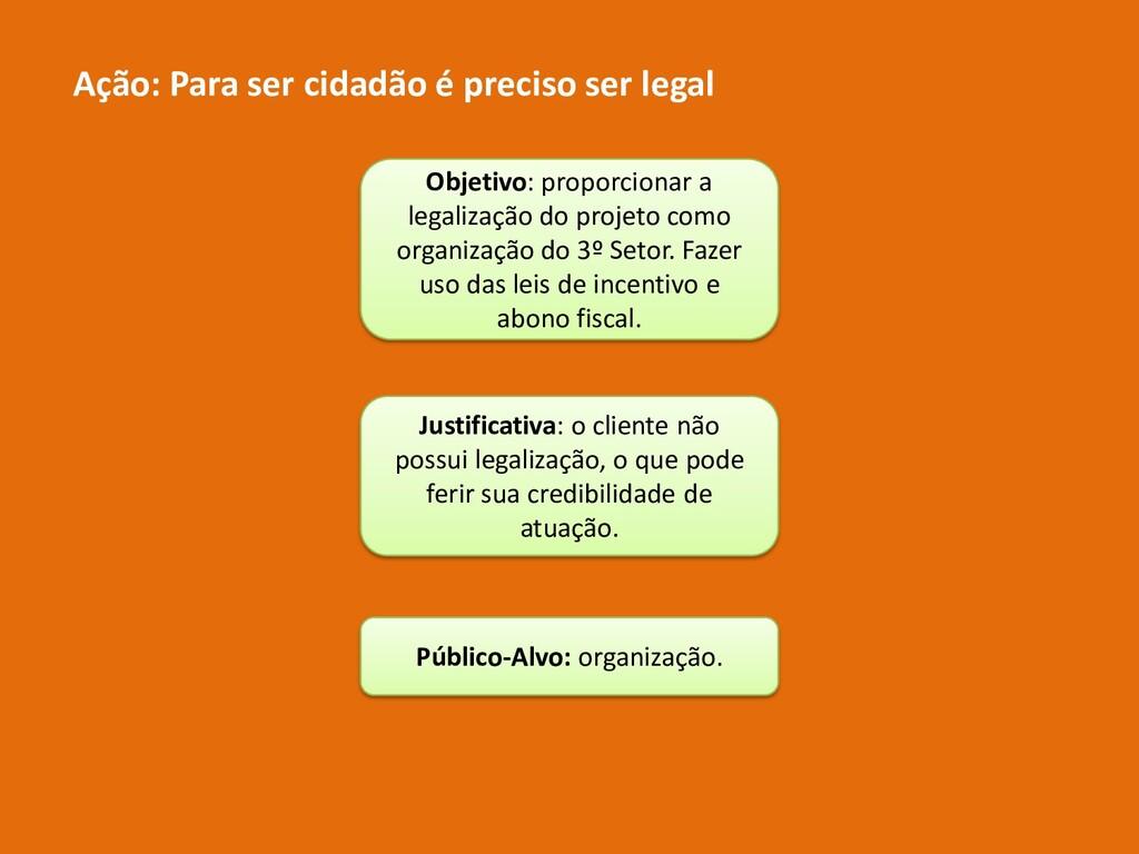 Ação: Para ser cidadão é preciso ser legal Obje...