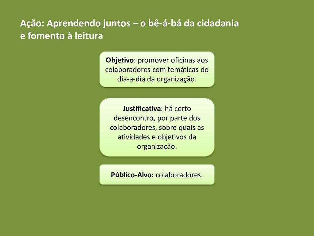 Ação: Aprendendo juntos – o bê-á-bá da cidadani...