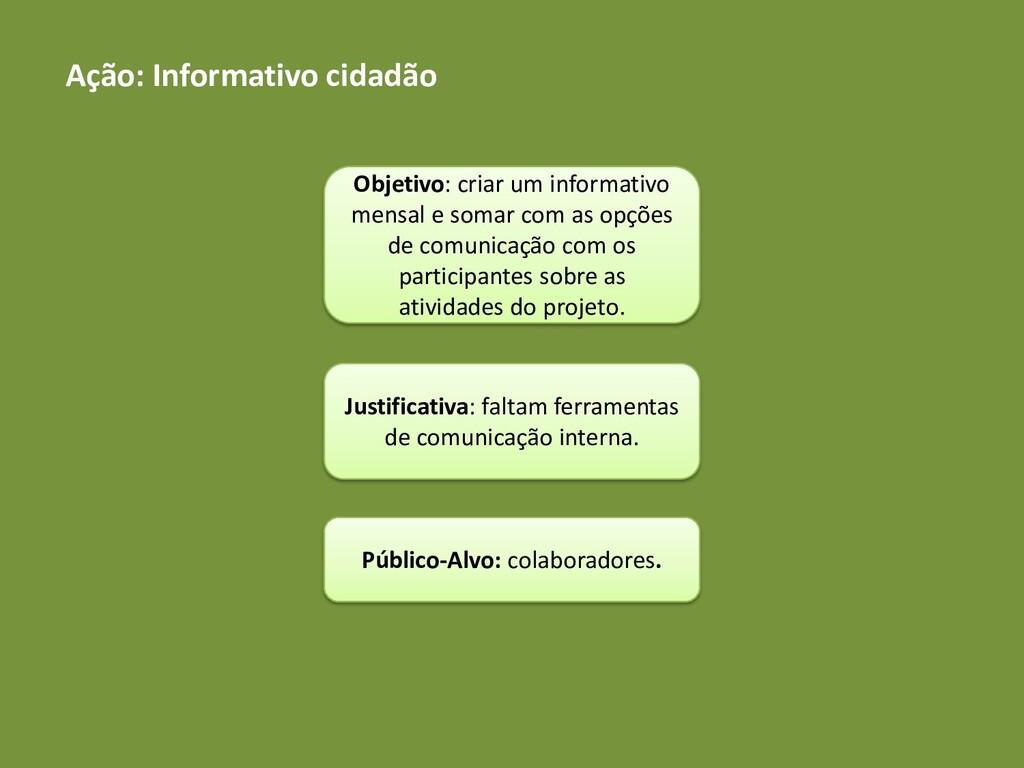Ação: Informativo cidadão Objetivo: criar um in...