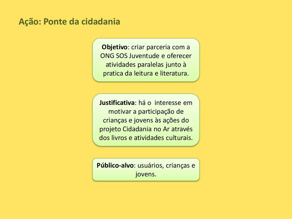 Ação: Ponte da cidadania Objetivo: criar parcer...