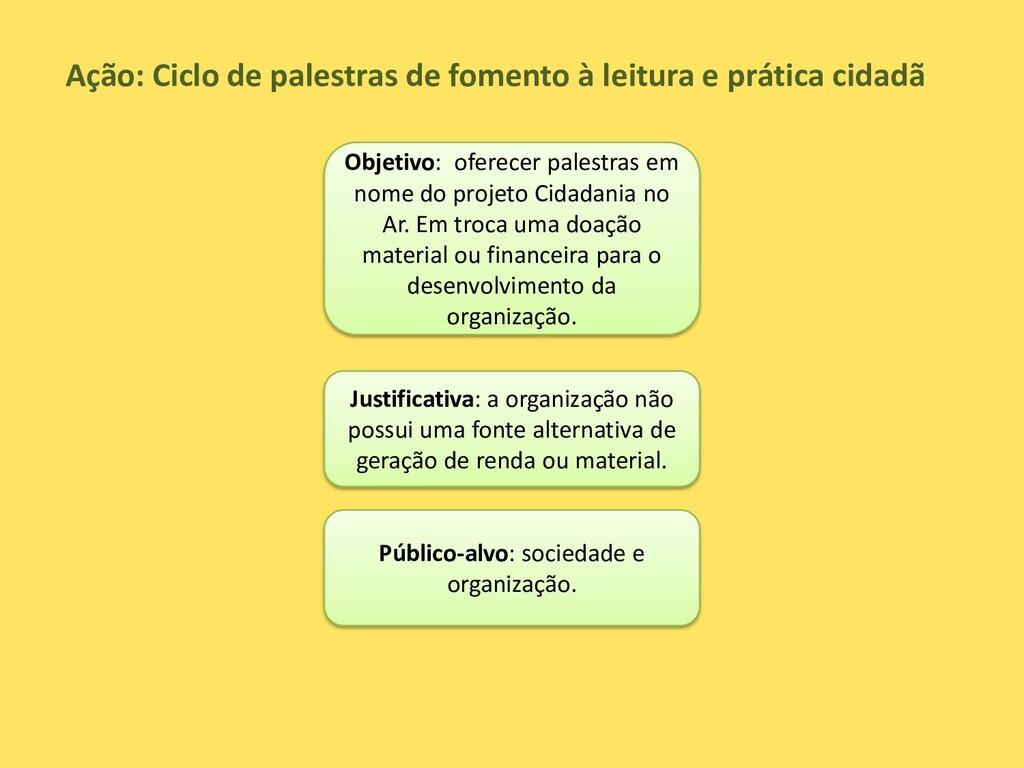 Ação: Ciclo de palestras de fomento à leitura e...