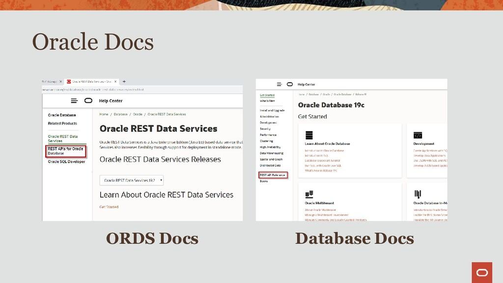 Oracle Docs ORDS Docs Database Docs