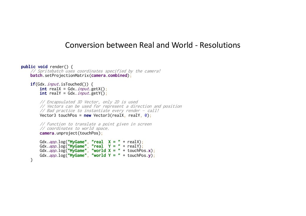Conversion between Real and World - Resolutions...