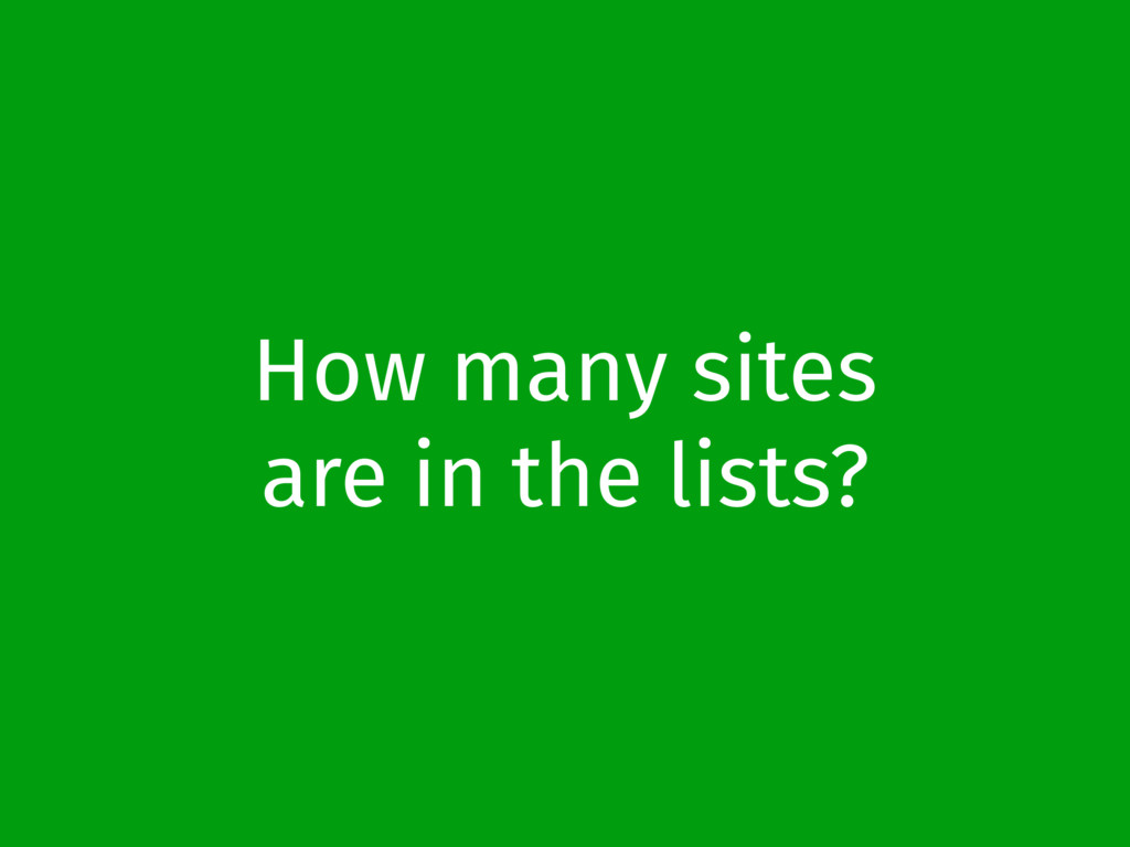 How many sites are in the lists?