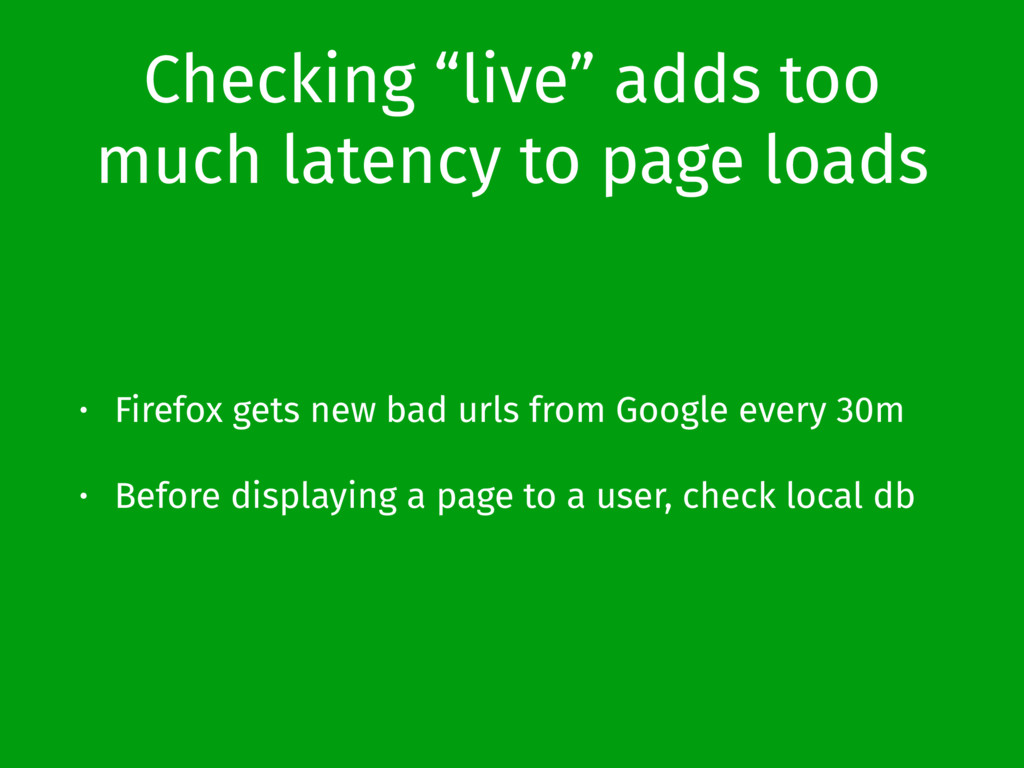 """Checking """"live"""" adds too much latency to page l..."""
