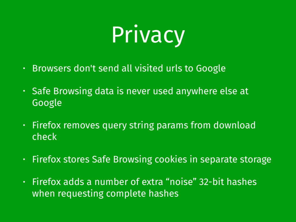 Privacy • Browsers don't send all visited urls ...