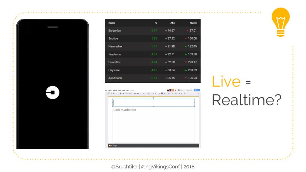 Live = Realtime? @Srushtika | @ngVikingsConf | ...