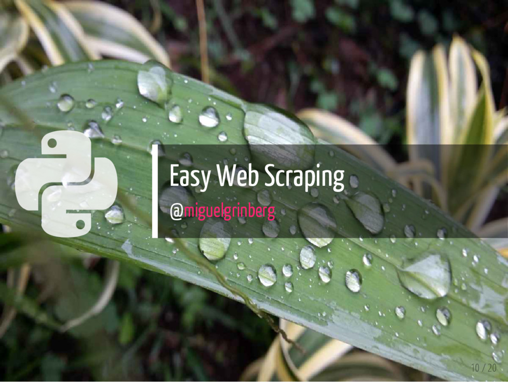  Easy Web Scraping @miguelgrinberg 10 / 20