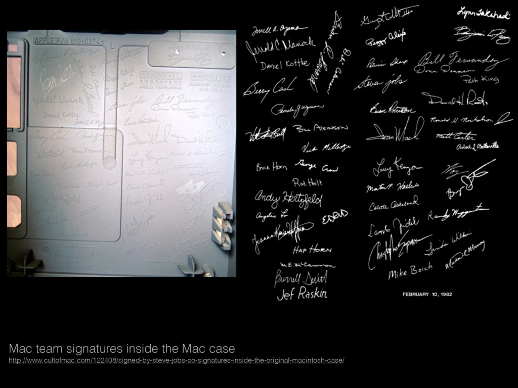 Mac team signatures inside the Mac case http://...