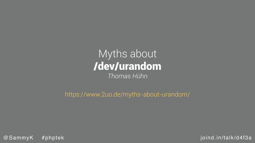 joind.in/talk/d4f3a @SammyK #phptek Myths about...