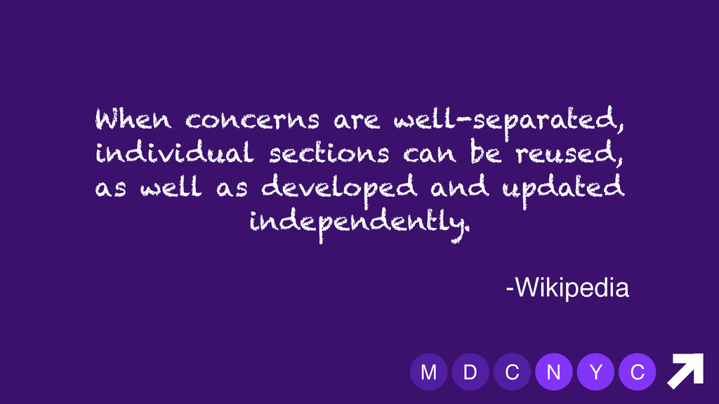 M D C N Y C When concerns are well-separated, i...