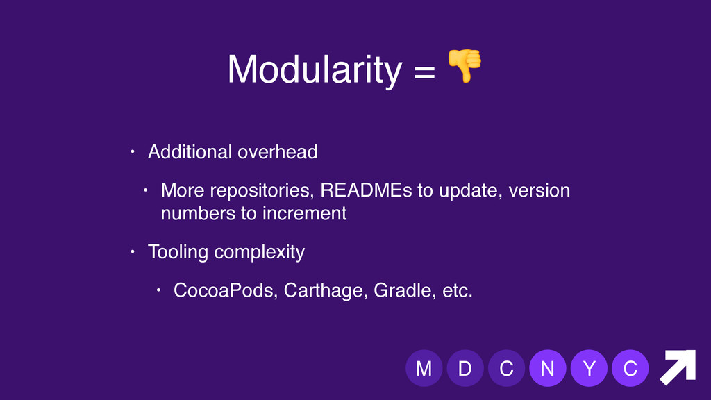 M D C N Y C Modularity =  • Additional overhead...