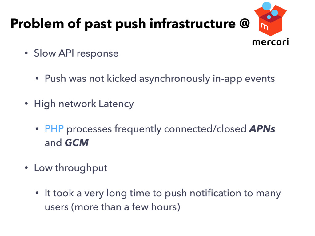 • Slow API response • Push was not kicked async...