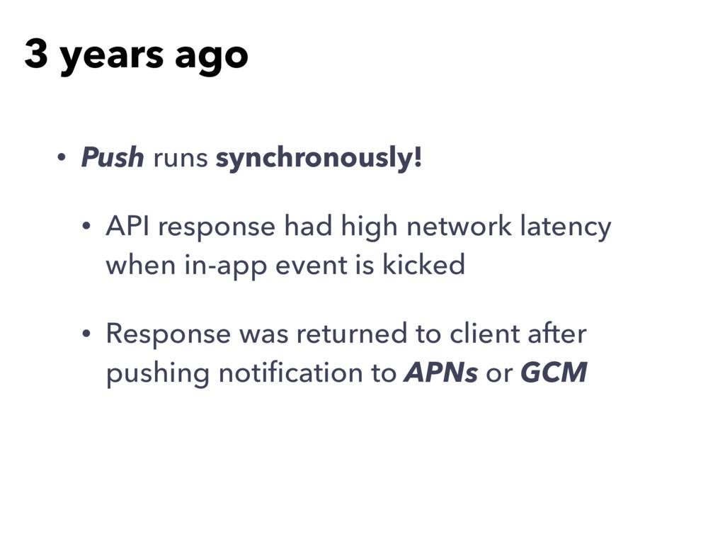 • Push runs synchronously! • API response had h...