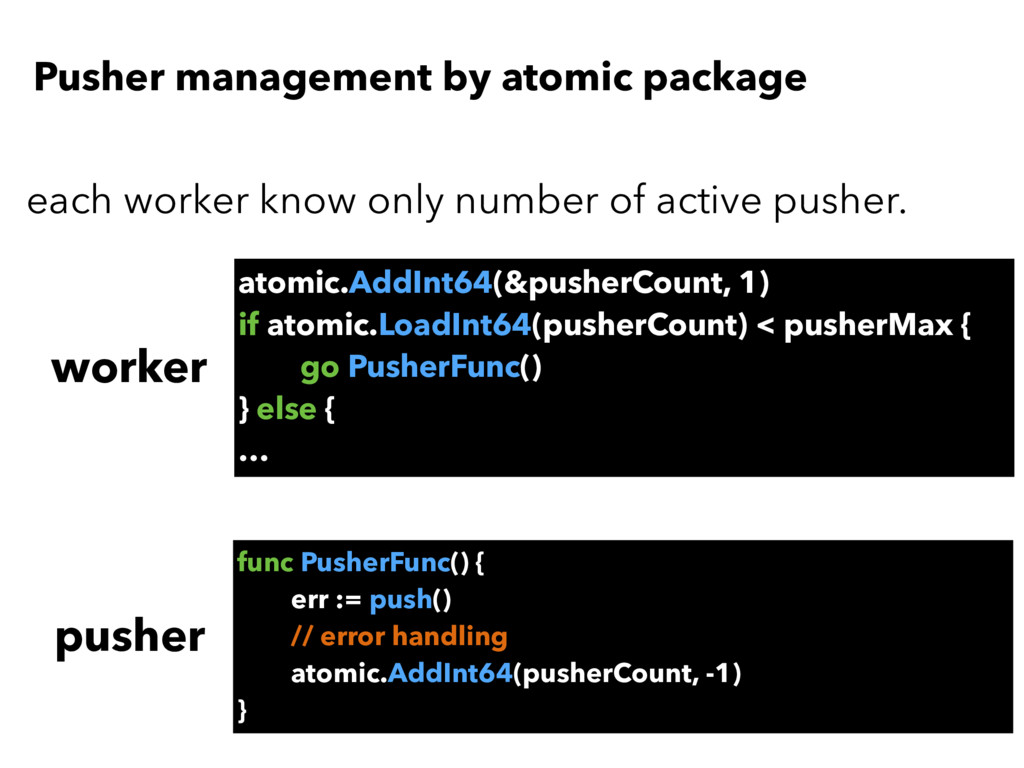Pusher management by atomic package atomic.AddI...