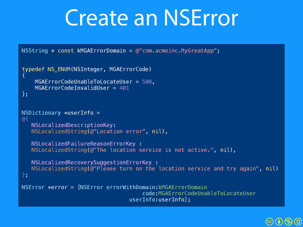 Create an NSError NSString * const kMGAErrorDom...