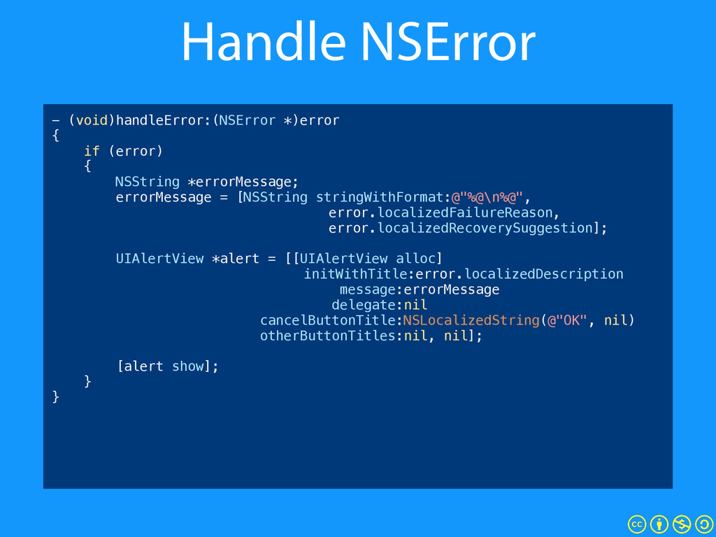 Handle NSError - (void)handleError:(NSError *)e...