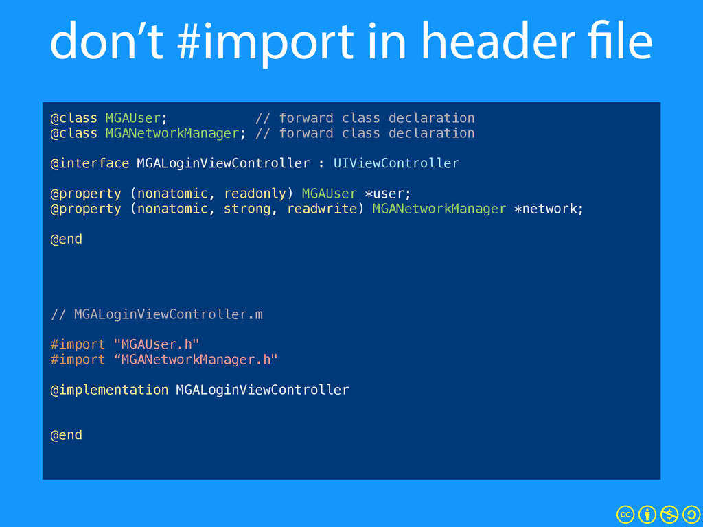 "don't #import in header file #import ""MGAUser.h..."