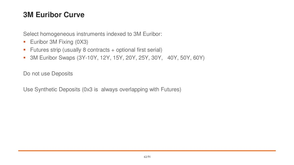 3M Euribor Curve Select homogeneous instruments...