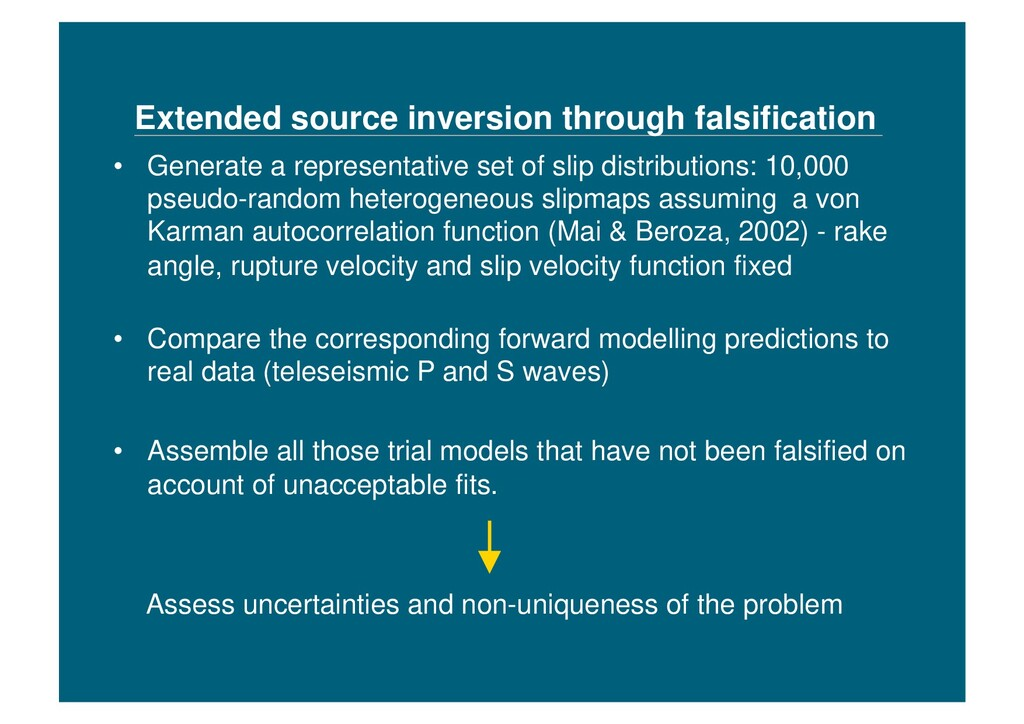 Extended source inversion through falsification...